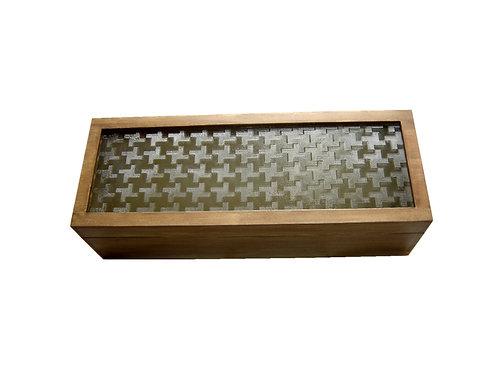 Caixa Para Vinho em Madeira de Reflorestamento com Visor de Vidro