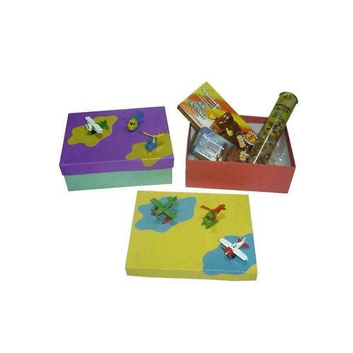 Caixa com Mini Aviões e Chocolate