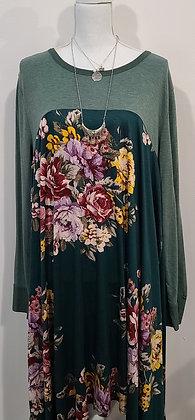 Hunter Green floral dress