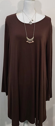 Chocolate brown dress with pockets and straight hemline