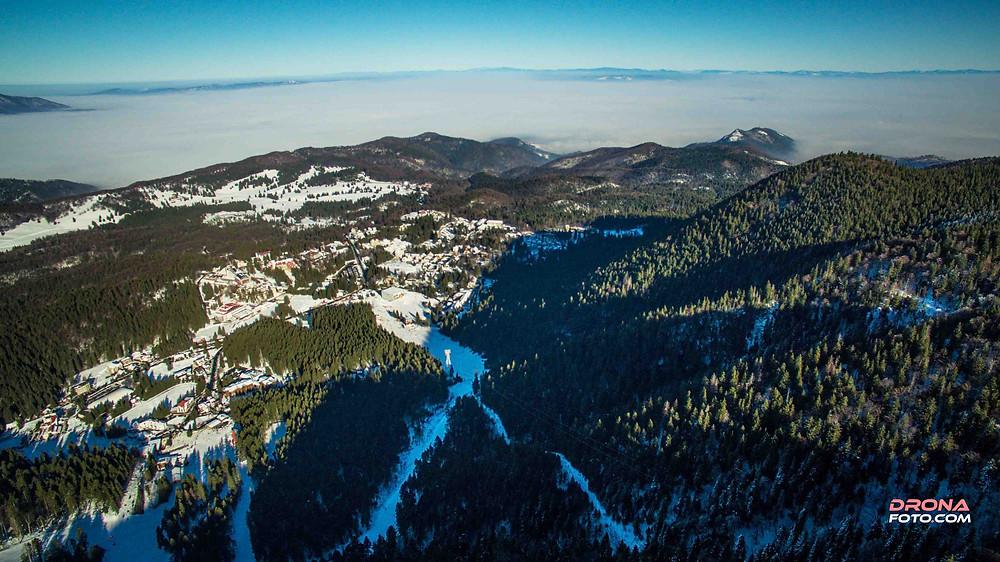 Poze cu Drona în Brașov soare și nori