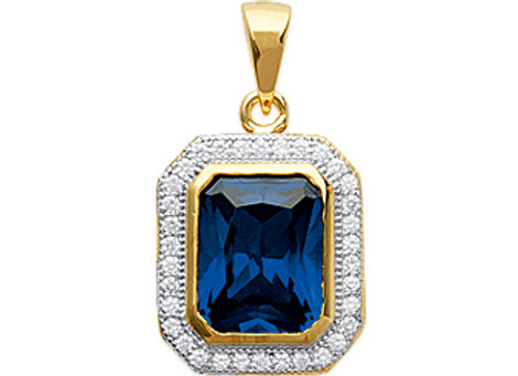 Pendentif plaqué or pierre bleue et zirconium - PEND2747840