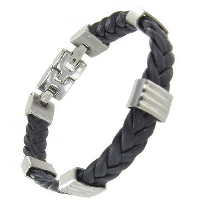 Bracelet Cuir Acier - BRAC19085221