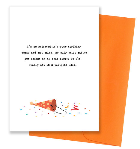 Outy belly button - Birthday Card