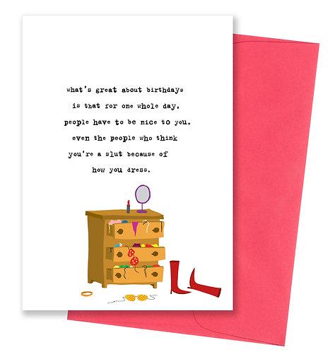 Think you're a slut - Birthday Card