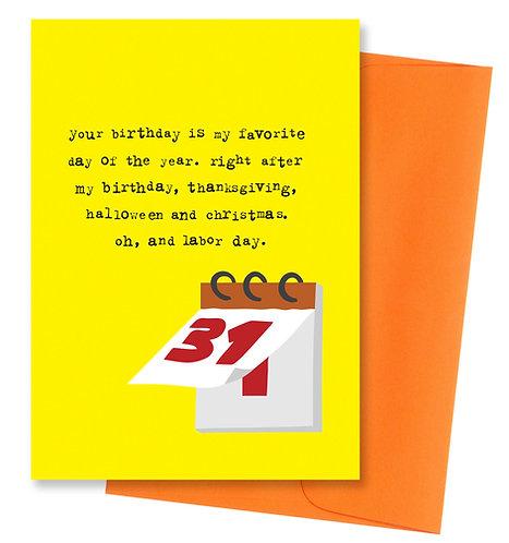 Favorite day - Birthday Card