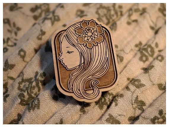 Audrey Kawasaki Wooden Brooch