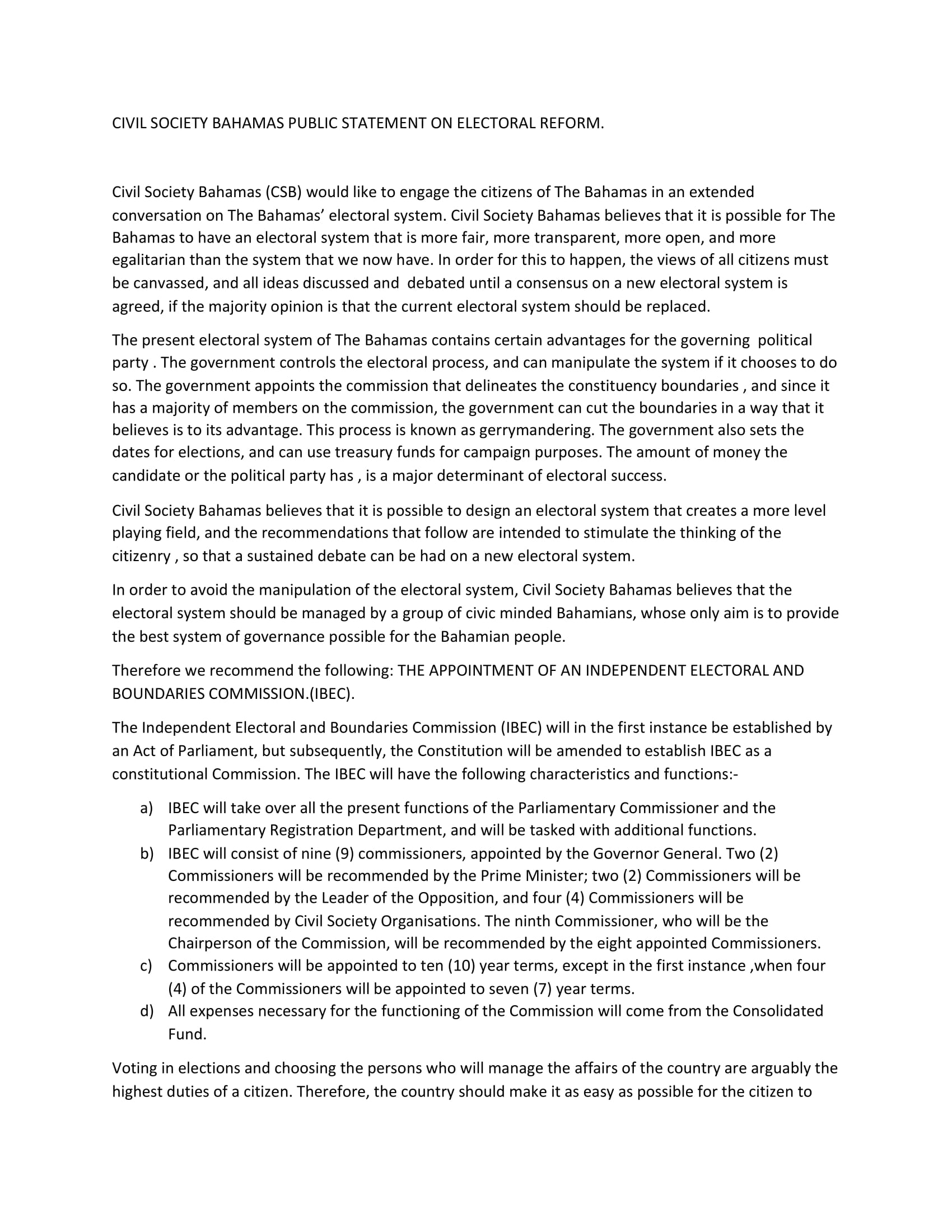 PUBLIC STATEMENT ON ELECTORAL REFORM-1