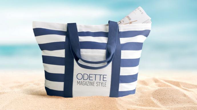 Canvas Striped Branded Beach Bag