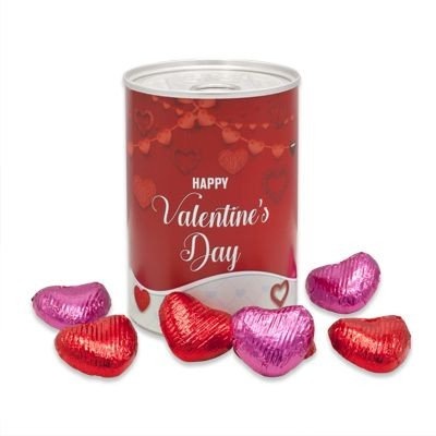 Branded Tin with Valentines Chocolate Hearts