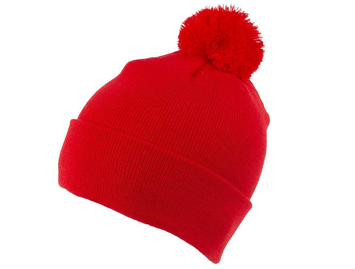 Branded Red Beanie with Bobble