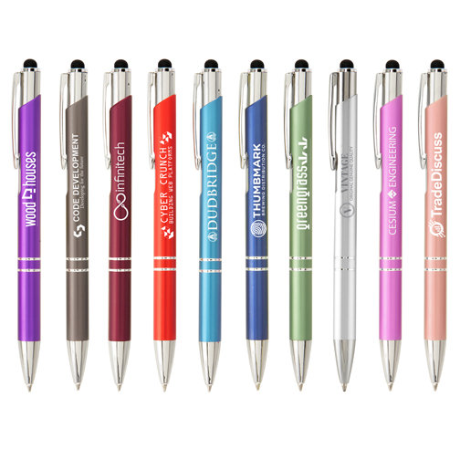 Metal engraved or printed pens with stylus
