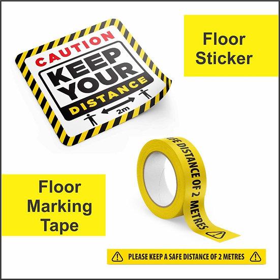 Retail space social distancing floor markers various