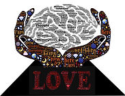 Hand cradling brain with love, emotional heaing