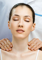 Woman receiving head massage, In the Zone Healing Indian Head Massage