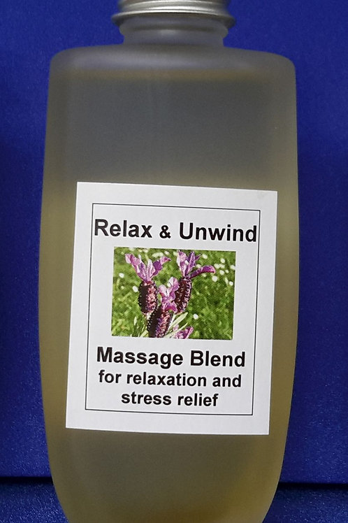 Relax & Unwind aromatherapy massage blend provides emotional relief, grounding and nurturing