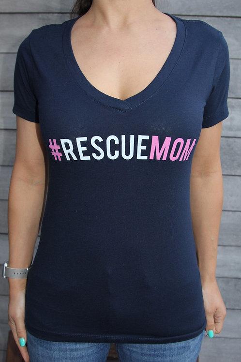 Women's #RESCUEMOM V-Neck