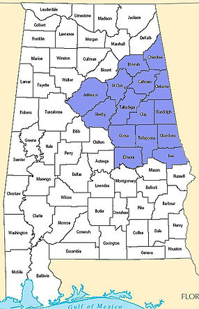 15 counties in east & central Alabama