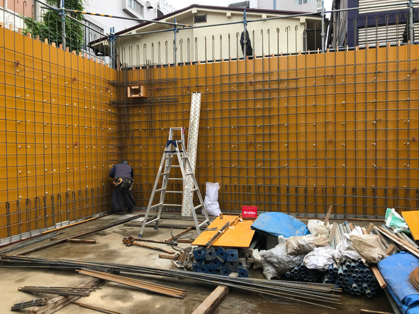 南青山3丁目プロジェクト 1F壁配筋・鉄柱検査