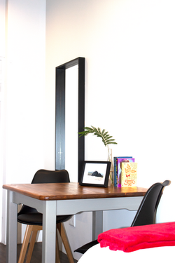 Desk with plug point.