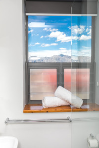 Shower with a mountain view