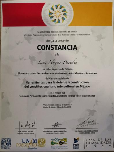 Nayar Paredes Defensa indigena UNAM 2018