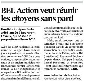 BEL Action veut réunir les citoyens sans parti