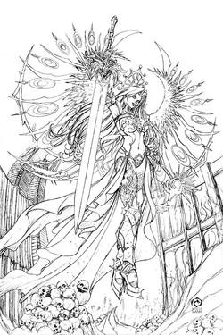 Lady Death Seraphym line art