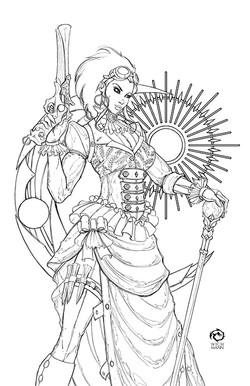 Lady Mechanika Line Art