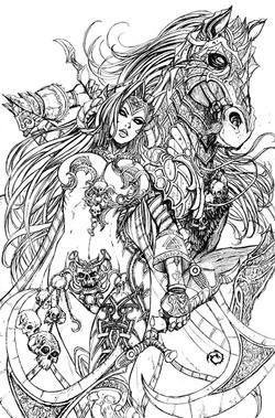 Lady Death Oblivion Kiss #1 Line Art
