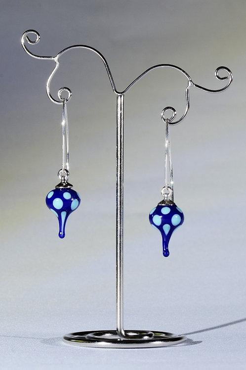 Spotted blue drop earrings.