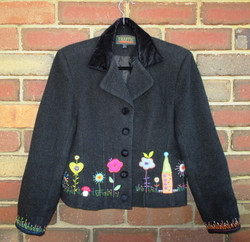 Upcycled, embroidered jacket - front
