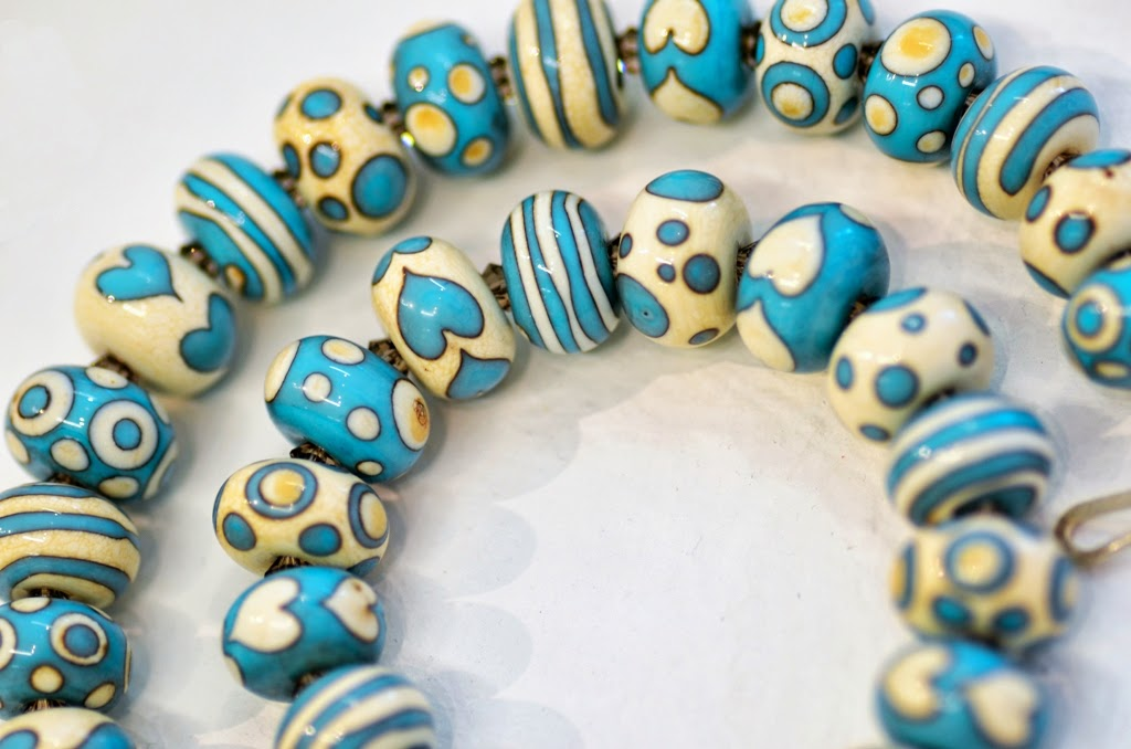Flameworked bead necklace