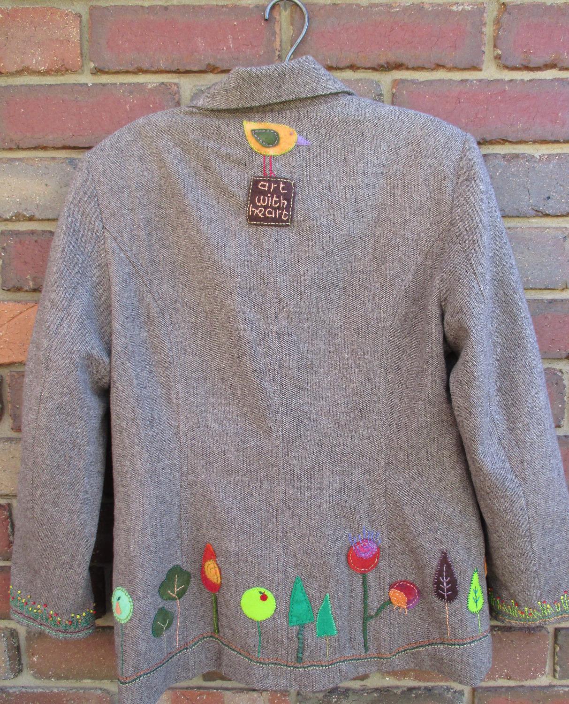 Upcycled, embroidered jacket - back