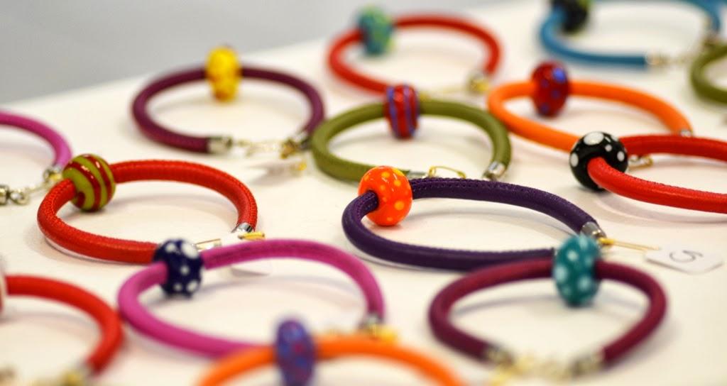 Flameworked bead & leather bracelets