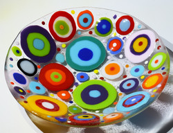 Spotted round glass bowl