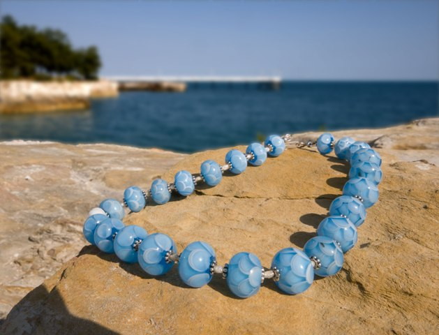 Blue flameworked glass beads
