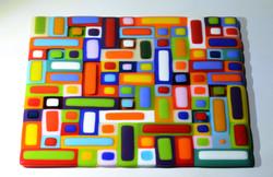 Square mosaic glass platter