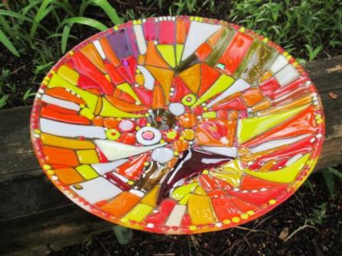 Red and orange glass bowl