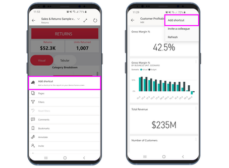 Boost your productivity – Shortcuts are now available in the Power BI Android app