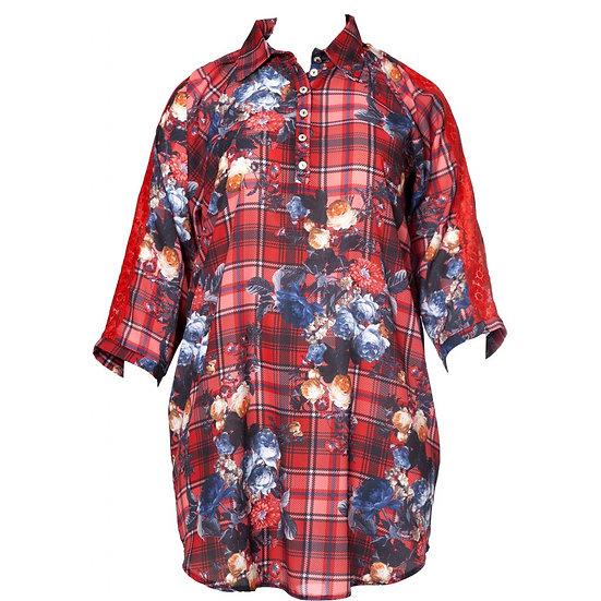 NO. 1 by OX Tunika-Kleid mit Karo/Blumen Muster Mix