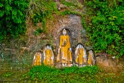 Carved Buddhas, Akauk Taung (Tax Mountain), along the Ayeyarwady River north of Pyay, Myanmar 2008-4