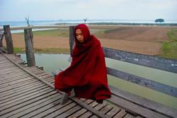 Monk on U Bein Bridge, Amarapura, Myanmar 2007