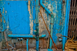 Blue Wall with Pipes, Yangon 2010
