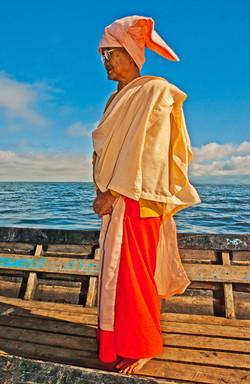 Buddhist Nun on Boat, Inle Lake, Myanmar 2008