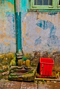 Facade with Pipe and Red Trashcan, Yangon 2009