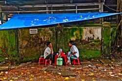 Two Men Sitting in Teashop, Yangon 2008