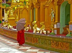 Monk with Umbrella, Shwedagon Pagoda, Yangon 2007