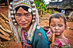 Young Akha Woman and Child, near Kyaing Taung, Myanmar 2008