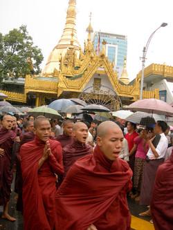 Buddhist Monks, September 2007 Demonstrations, Yangon 2007-5